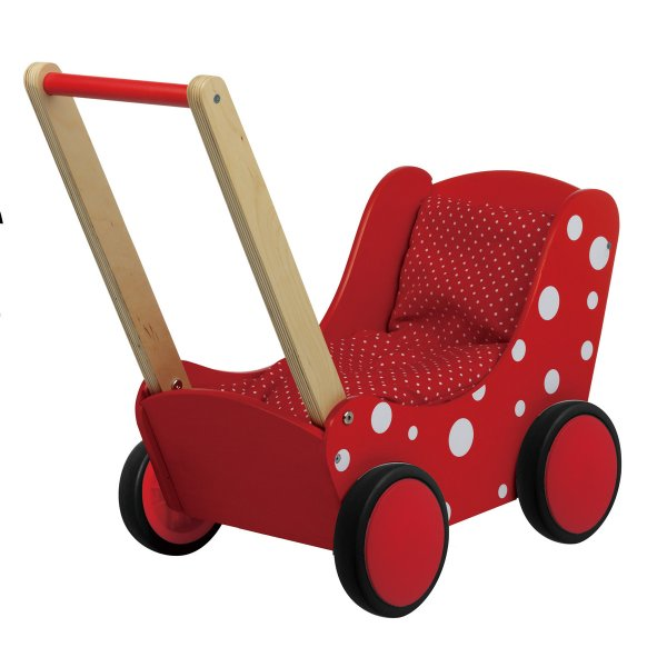 Simply For Kids Poppenwagen Gestippeld Rood